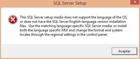 SQL Server error de instalación