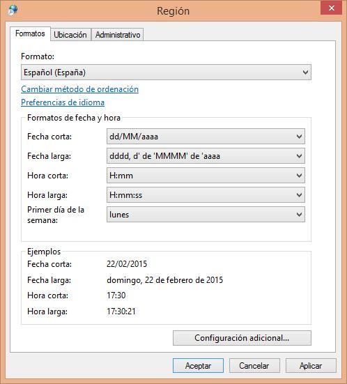 Seleccionar Formato: Español (España)