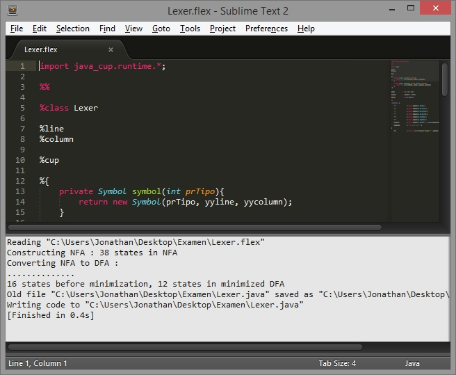 Resultado JFlex y Sublime Text 2